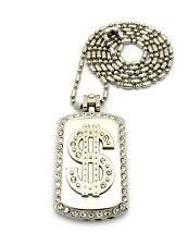 Dollar Sign Symbol Logo Pendant Cigarette Lighter Dog Tag Chain Necklace Jewelry