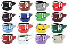 Men's Reversible Leather Casual Dress Belt Silver Buckle 1.4 Inch Wide 16 Sizes