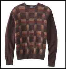 Dockers Mens Patterened Chenille Crewneck Sweater Brown L NWT Pullover Plaid