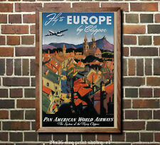 Pan Am Europe by Clipper - Vintage Airline Travel Poster (reproduction)