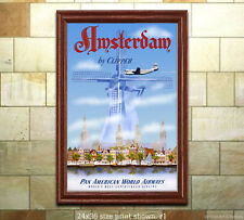 Pan Am Amsterdam - Vintage Airline Travel Poster [6 sizes, matte+glossy avail]