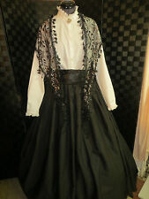 Civil War Victorian Dickens Theater Dress Skirt Lace Trimmed  Shawl  Sash