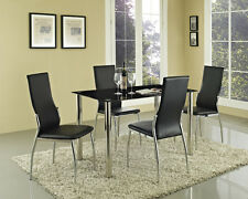 Black Glass Dining Table and with Optional 4 or 6 Faux Leather Chairs Chrome New