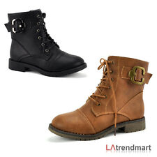 Fashion Ladies Military Combat Ankle Boots Lace Up Zipper Top Moda Club-25
