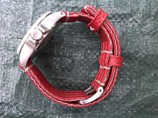 'invincible' handmade red/yellow Fire Hose rubber waterproof dive watchstrap