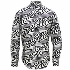 Mens Chenaski 70's Wavyline Psychedelic Retro Black/Creme Hippy Pop Art Shirt