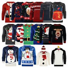 New Mens Jumpers Christmas  Xmas Novelty LED OR 3D Knitted  Snowman Top  D4