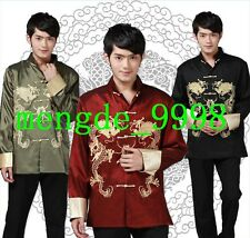 Traditional Chinese Clothing Men Tang Suit Embroider Dragon Chinese Kungfu Shirt