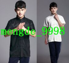 Traditional Chinese Clothing Men's Tang Suit Short Sleeve Shirt Black/White T074