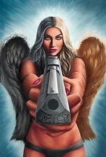 Sexy Angel with Desert Eagle Justice Artwork Oil Painting Signed Canvas Print