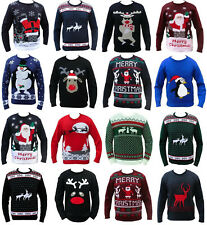 MENS LADIES WOMENS CHRISTMAS FUNNY JUMPER SWEATER RUDE SNOWMAN REINDEER SANTA