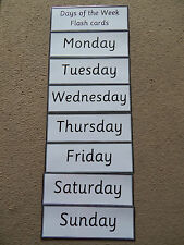 Simple Days of the week Flash Cards - Educational Learning Resource