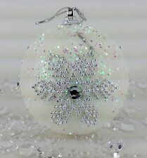 Xmas Christmas Decorations Baubles Tree Ornaments White Snowdrop Glitter NEW