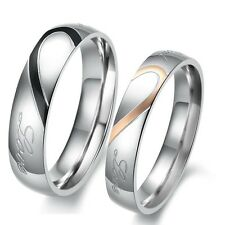 OPK Stainless Steel Silver Heart Real Love Couple Ring for his and her Promise