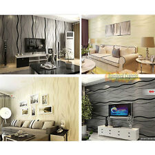 Fashion Wave Stripes non-woven Flocking Art Wallpaper Rolls Bedroom TV Modern
