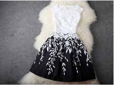 Elegant Floral Printed Dress Venice Lace Leaf Patchwork Evening Party Gowns New