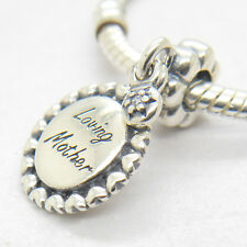 Loving Mother Sterling Silver W Clear CZ Dangle Charm Mother's Day Gift Presents