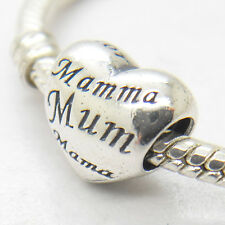 Mothers Heart Love Mum Languages Sterling Silver Charm bead for mom