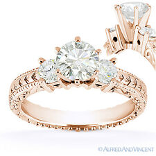 1.05 ct Round Cut Moissanite 14k Rose Gold 3-Stone Antique Style Engagement Ring