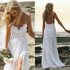 Stock Beach Bride Evening Party Prom Wedding Dresses Backless Lace  size :6-16