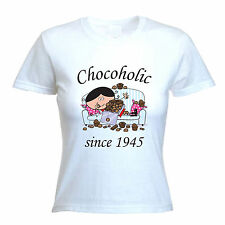 CHOCOHOLIC SINCE 1944 WOMENS 70th BIRTHDAY T-SHIRT gift present years old