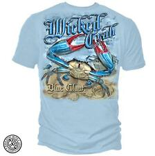 WICKED FISH T SHIRT WICKED CRAB BLUE CLAW T-SHIRT LIGHT BLUE SHIRT