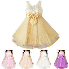 Girls Princess Bow Skirt Party Wedding Bridesmaid Tutu Dress Pageant Size 3-8