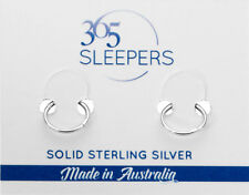 New Solid 925 Sterling Silver Sleepers Non Allergic Hinged Hoop Piercing Earring