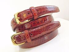 "GENUINE ALLIGATOR 1"" Belt in Cognac Gold tone Buckles.New! 34 36 38 40 42"