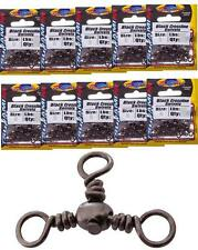 Bulk 10 Pack Tsunami Black Crossline Three Way Swivels - 7 Sizes To Choose From