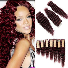Fast Free Ship Deep Wave 99J# REAL BRAZILIAN VIRGIN  HUMAN HAIR EXTENSION 100g