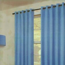 "Pair Of Plain Sky Blue Eyelet Ring Top  BLACKOUT Curtains 53"",  72""   Drop"