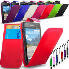 Huawei Ascend Y550 - Pu Leather Flip Case Cover + Screen Protector + Mini Pen