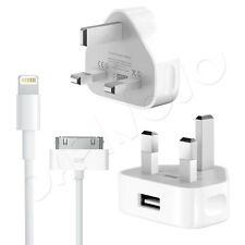 Genuine Apple Mains Charger Plug + USB Data Sync Cable For iPhone / iPod