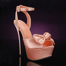 "Liliana ""Paulette-3"" Solid Color Platform with Bow at the Toe"