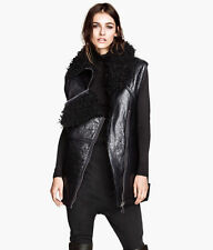 H&M Paris Collection Oversized Leather Shearling Sheepskin Gilet Waistcoat