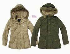 Military army parka jacket coat detachable fur hood sherpa lining S/M/L/XL