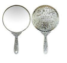 Vintage Round Vanity Hand held Mirrors Purses Make up Cosmetic Large Silver