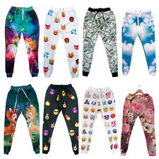 Young Men Women EMOJI Space Print Funny Autumn Sweatpant Jogger Pant trousers
