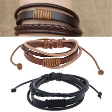 Retro Men Punk Handmade Multilayer Leather Surfer Braided Wristband Bracelet