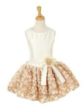 New Ivory Champagne Short Flower Girls Dress Party Easter Christmas Pageant 6320