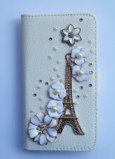 Pearl Eiffel Tower Wallet Card Holder PU Leather Flip Case Cover For Sony Phones