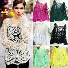 Womens Ladies Vintage Sheer Embroidery Flower Lace Crochet Blouse T-Shirt Top