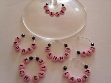 1 6 12 or 25 Personalised PINK Wine Glass Charms - Hen / Party Favours