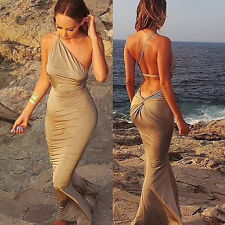 Sexy Slim Backless Bodycon Women Club Cocktail Party Evening Dress Long 4Colors
