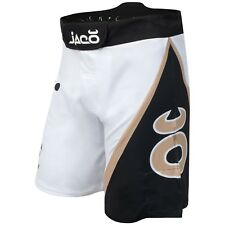 Jaco Tenacity Resurgence Fight Shorts (White/Black/Gold) - bjj mma ufc
