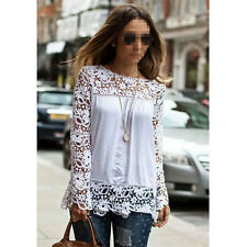 Womens Lady Hollow Long Sleeve Chiffon Tops Sexy Lace Shirts Casual Blouses