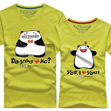 Women men tops for summer clothes Lovers couple T- shirt Cute panda D#