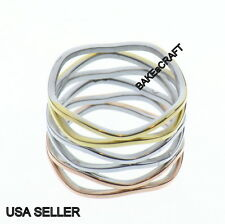 Wave Ring Stainless Steel Women's Tri Color 6 Row