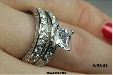 STUNNING 7MM PRINCESS CUT CZ STERLING SILVER ENGAGEMENT RING WEDDING RING SET